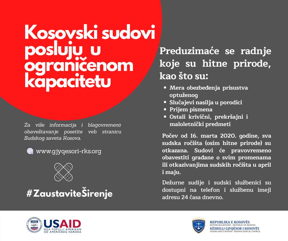 Kosovski sudovi rade ograničenim kapacitetom