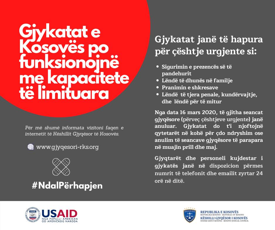 GJYKATAT E KOSOVËS PO FUNKSIONOJNË ME KAPACITETE TË LIMITUARA